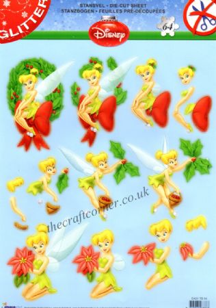 Disney's Tinkerbell At Christmas Die Cut 3d Decoupage Sheet